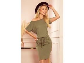 139-8 Sportovní šaty s krátkými rukávy - olivová barva