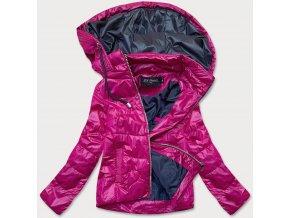 Krátka prechodná bunda s farebnou kapucňou