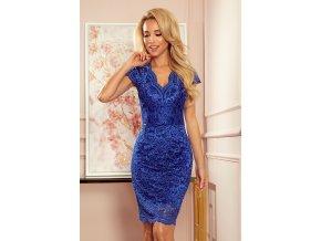 316-4 Krajkové šaty s výstřihem - modrá barva