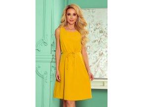 296-5 VICTORIA Trapézové šaty - medová barva