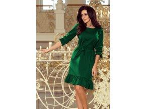 193-8 MAYA Šaty s volány a pruhem - zelené barvy
