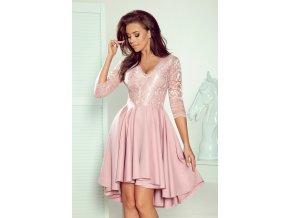 210-11 NICOLLE - Exkluzivní šaty s krajkou - prášek růžový