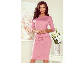 13-132 Sportovní šaty s vázáním a kapsami - pastelově růžové