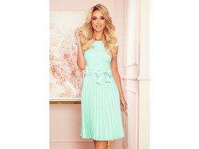 311-9 LILA Plisované šaty s krátkým rukávem - Barva máty