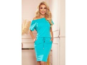 56-8 Sportovní šaty s krátkými rukávy - modrý
