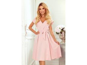 348-1 SCARLETT - rozšířené šaty s výstřihem - práškově růžové
