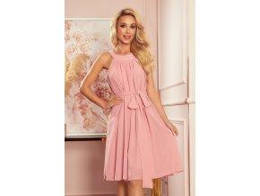 350-2 ALIZEE - šifónové šaty s vázáním - práškově růžové