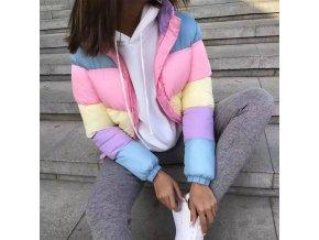 Krátka farebná zimná bunda