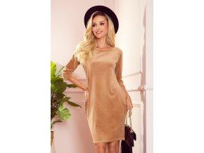 40-15 JOLA - sametové šaty s kapsami - béžová barva