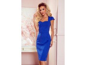 318-3 Midi šaty s pěkným výstřihem - modré