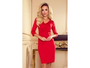 255-3 IRIS Šaty se záhyby - Červené