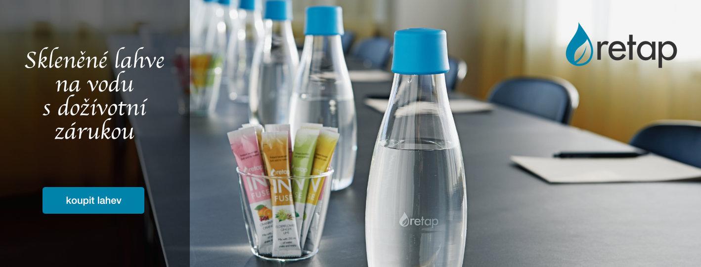 Skleněné lahve na vodu Retap. Doživotní záruka.