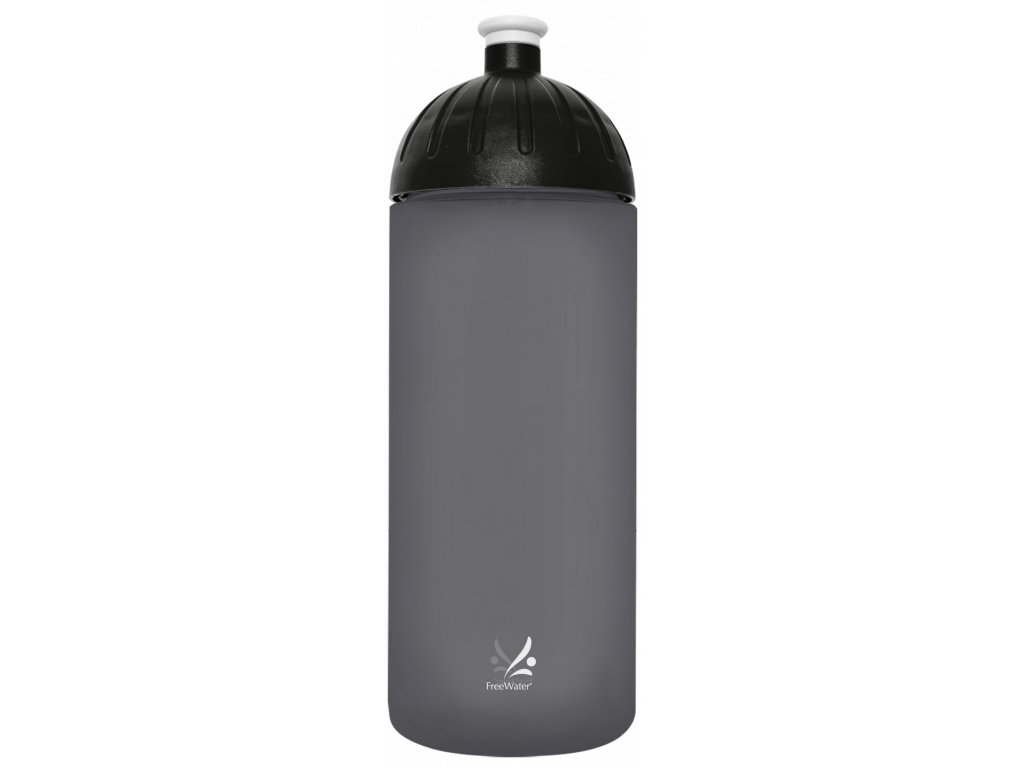 FreeWater láhev na pitív šedém provedení s černým uzávěrem a logem