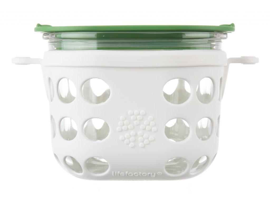 Lifefactory skleněná dóza 475ml white/grass green