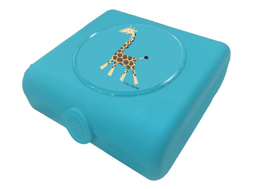 Carl Oscar dětský svačinový sandwich box tyrkysový žirafa 1