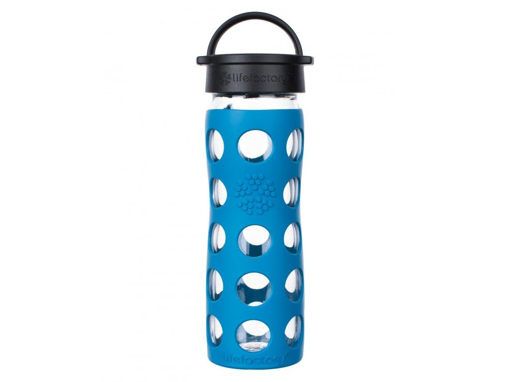 Lifefactory skleněná láhev s klasickým uzávěrem 475 ml teal lake