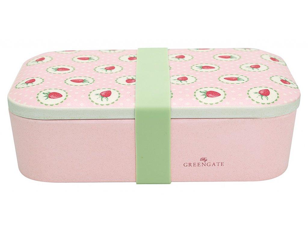 Green Gate bambusový svačinový box Strawberry Pale Pink 1