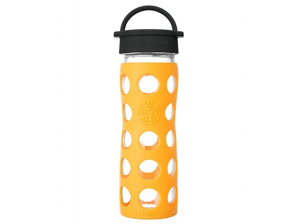 Skleněná láhev na pití do práce nebo do školy se žlutým silikonovým obalem