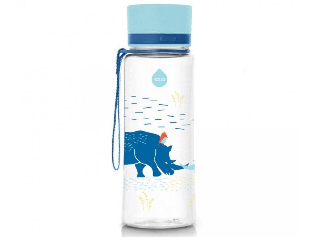 Dětská plastová láhev na vodu s motivem nosorožce.