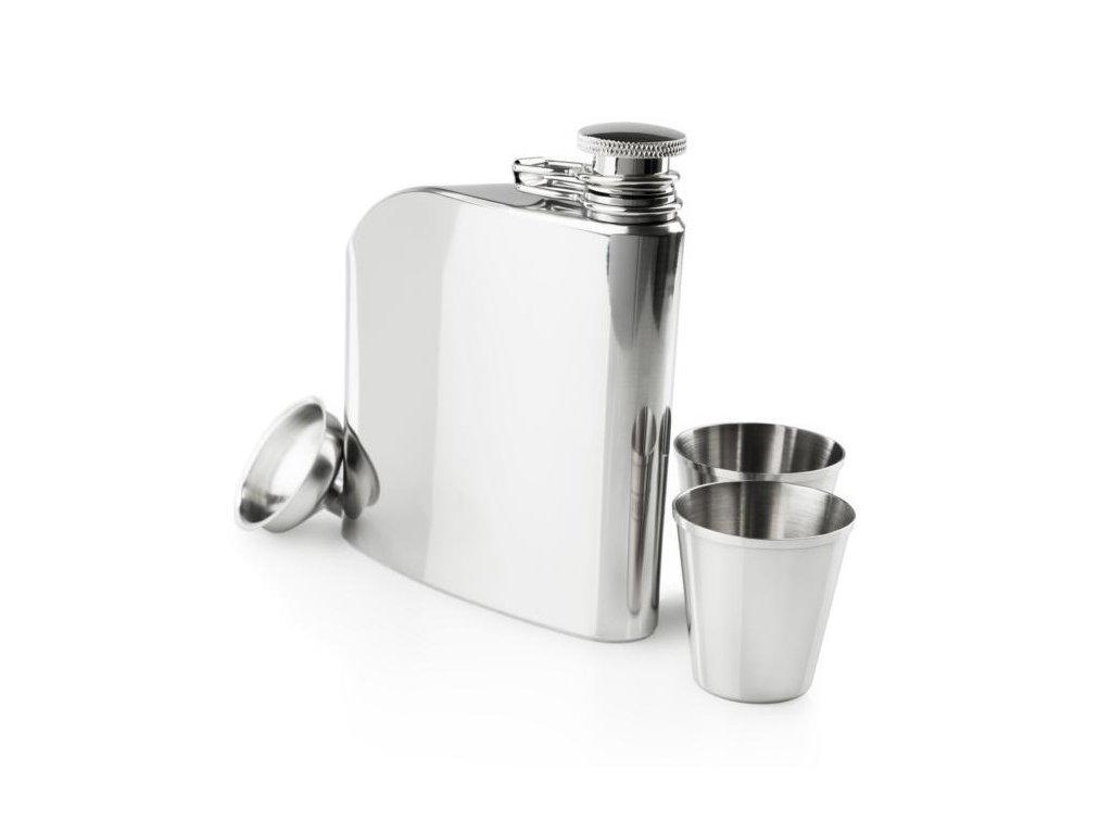 Kvalitní nerezová butylka GSI Trad Flask set 177 ml se dvěma panáky.