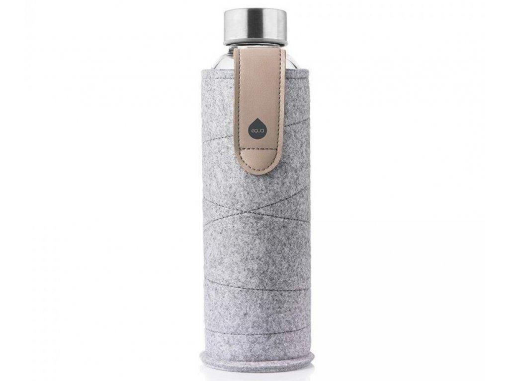 EQUA skleněná láhev na pití Mismatch White 0,75 l s obalem Sand Sky