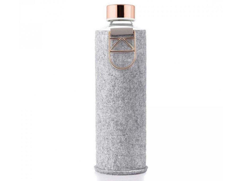 EQUA skleněná láhev na pití Mismatch Black 0,75 l s obalem Rose Gold