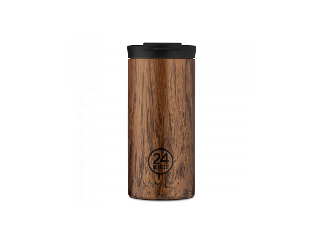 24Bottles nerezový termohrnek Travel Tumbler sequoia wood 1
