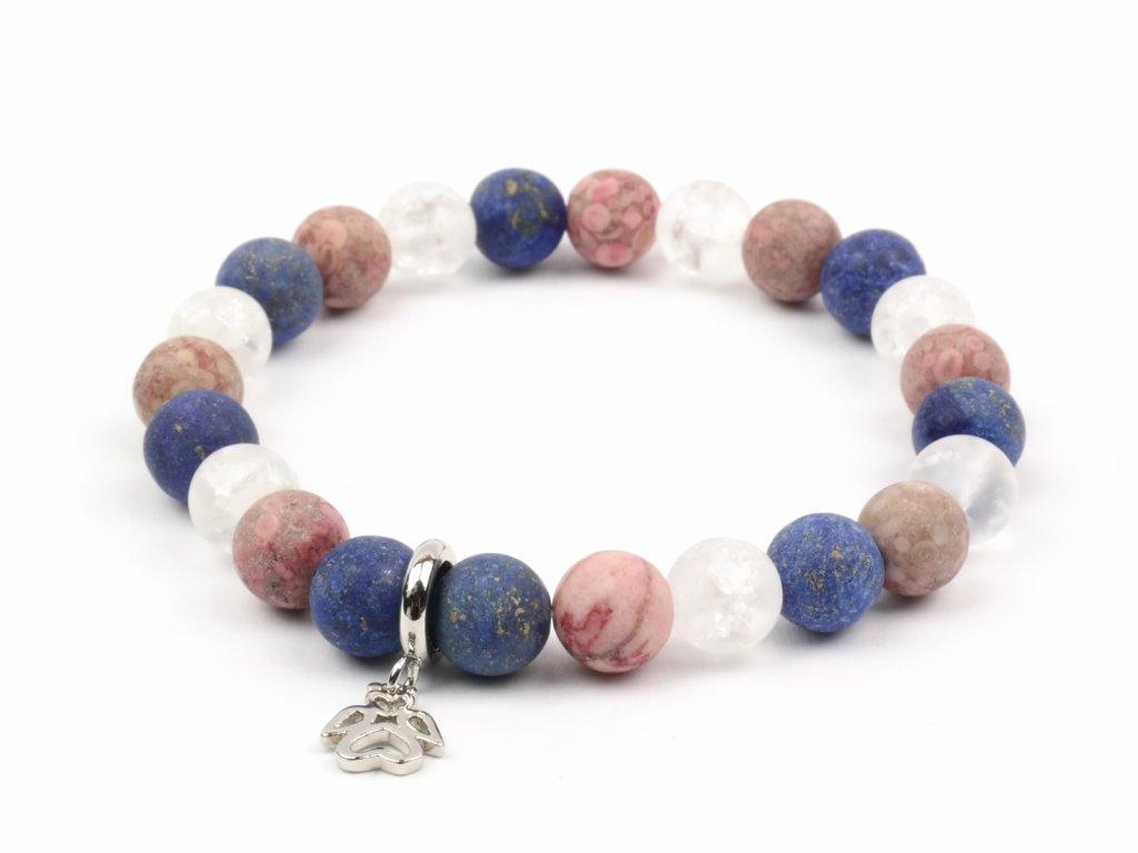 Moni dámský náramek z korálků lapis lazuli, jaspisu Red Flover a praskaného křišťálu s přívěskem andílka.