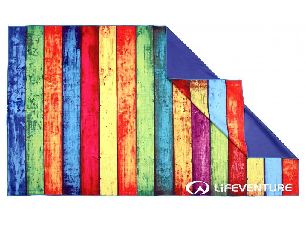 Lifeventure outdoorový ručník Printed SoftFibre Trek Towel striped planks 1