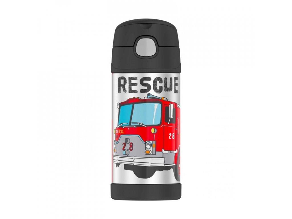 Nerezová vakuově izolovaná láhev s brčkem o objemu 355 ml s motivem hasičů 1