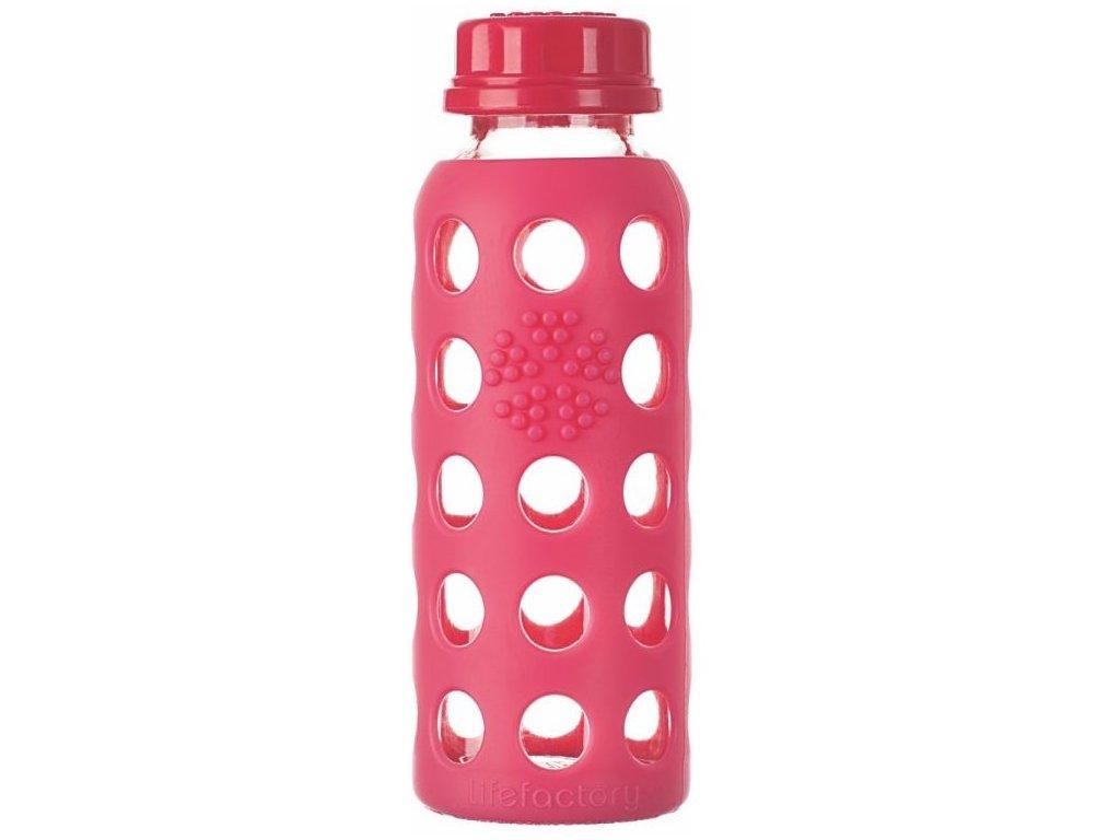 Lifefactory - skleněná láhev 250ml raspberry