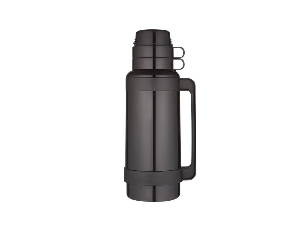 Thermos - skleněná termoska černá 1l