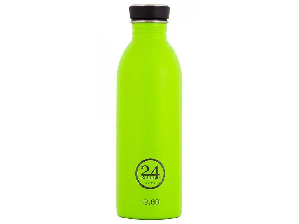 24Bottles - nerezová lahev Urban Bottle 500 ml černý uzávěr Lime Green