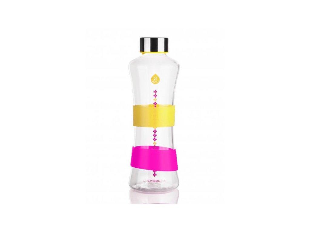 Lehká skleněná lahev Equa se žlutým a růžovým silikonovým pruhem