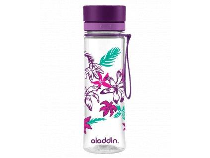 Aladdin - láhev na vodu Aveo 600 ml fialová s květinovým potiskem