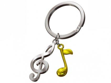 MTM přívěsek na klíče Houslový klíč se zlatou notou 1