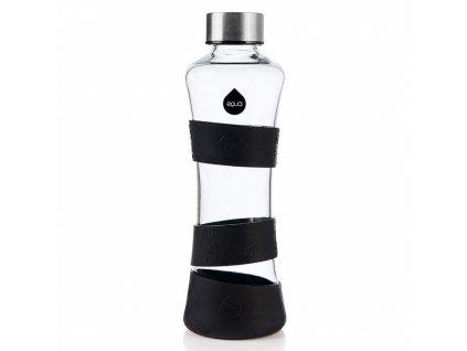 EQUA  skleněná láhev na pití s ochrannými silikonovými proužky v černé barvě 1