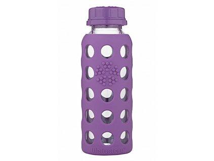 Fialová dětská skleněná láhev na pití do školy