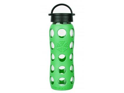 Skleněná láhev na pití s klasickým šroubovacím uzávěrem a zeleným silikonovým obalem