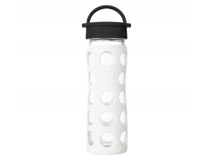 Odolná sklenéná láhev na vodu s bílým obalem ze silikonu. Uzávěr je šroubovací.