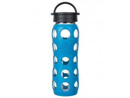 Odolná skleněná láhev na pití v modrém provedení