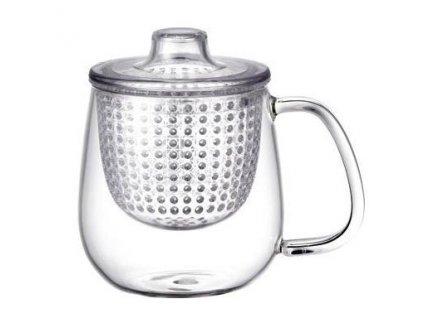 Skleněný hrnek na čaj UNIMUG s plastovým sítkem. Skleněná poklička.