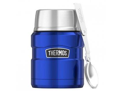 Nerezová termoska na jídlo se lžící Thermos 470 ml modrá 1