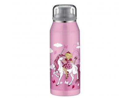 Alfi růžová termoska na pití pro děti s motivem jednorožce.