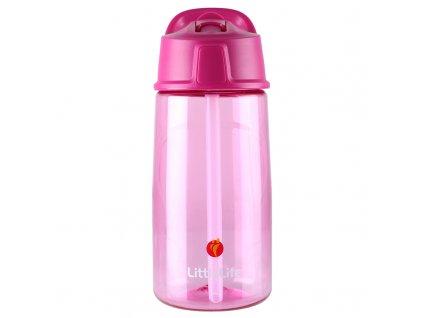 LittleLife láhev pro děti s vyklápěcím pítkem a brčkem Flip-Top 550 ml pink 1