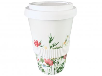 Porcelánový hrnek na kávu s sebou s květinovým motivem od karlovarské porcelánkyG.Benedikt 1