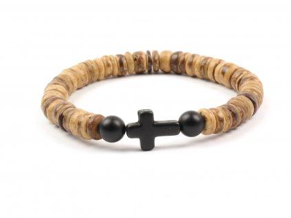 Pánský náramek dřevěné korálky černý křížek