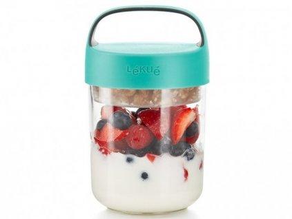 Lékué svačinový box Jar To Go 400 ml tyrkysový 1
