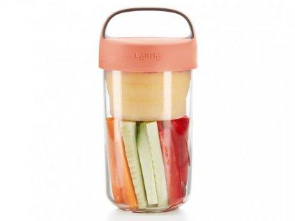 Lékué svačinový box Jar To Go 600 ml lososový 1