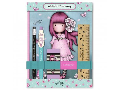 SANTORO LONDON sada pro holky do školy se zápisníkem Cherry Blossom 1